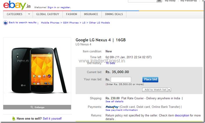 LG Google Nexus 4 In India