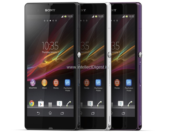 Sony Xperia Z Colour Options White Purple Black