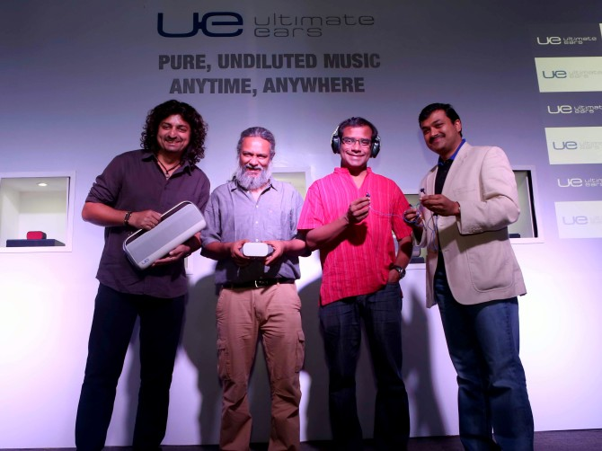 L2R Amit Kilam (Indian Ocean), Rahul Ram ((Indian Ocean), Susmit Sen ((Indian Ocean) and Subrotah Biswas, Director, Logitech India and South West Asia together launchi new range of Ultimate Ears