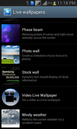 selecting video live wallpaper