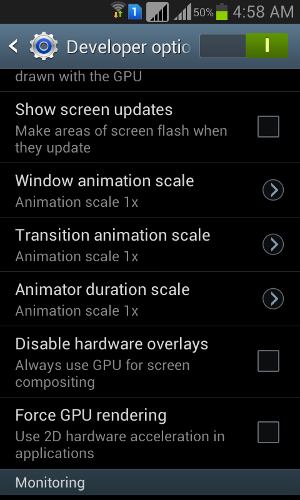 Samsung Galaxy Grand Developer Options