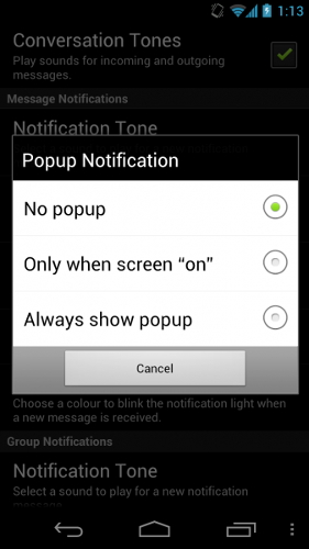 whatsapp popup