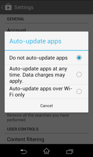 How to disable auto update of apps in Android