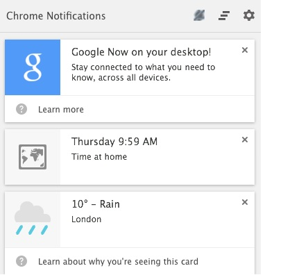 How to get Google Now in Chrome for desktop