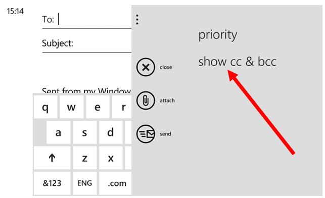 add cc and bcc email addresses on windows phone-5