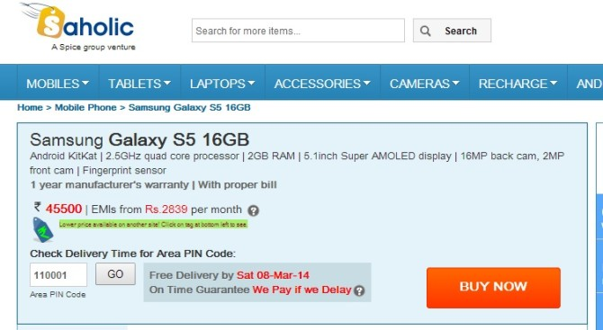 Samsung Galaxy S5 available in India at price INR 45,500