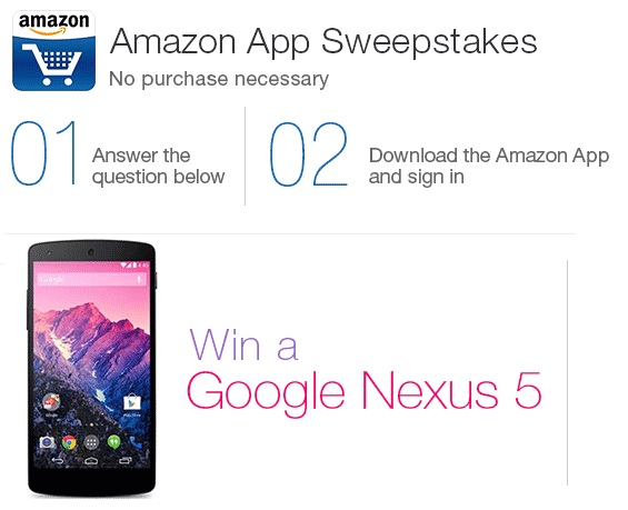 Win a smartphone and prizes every week, answer a simple question and download Amazon app