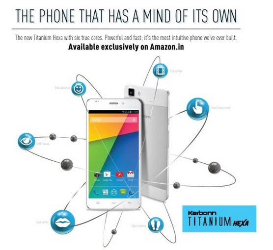 Karbonn Titanium Hexa 5.5-inch smartphone listed on Amazon exclusively worth INR 16,990