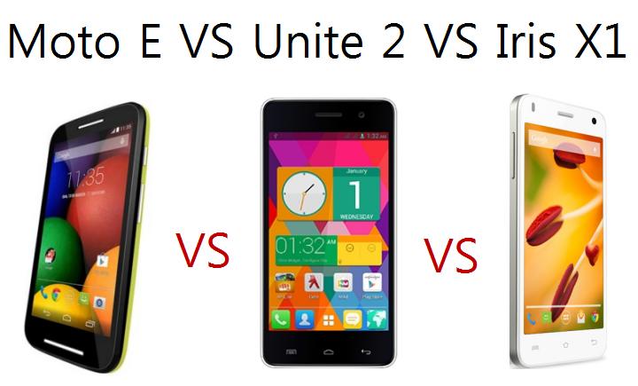 Moto E VS Micromax Unite 2 VS Lava Iris X1