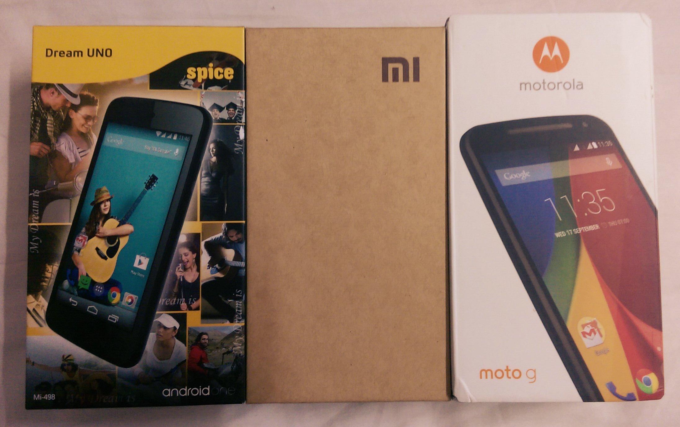 Google Android One VS Xiaomi Redmi 1S VS New Motorola Moto G VS Moto E Comparison With Videos