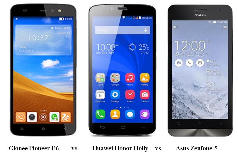 Gionee Pioneer P6 vs Huawei Honor Holly vs Asus Zenfone 5 (1)