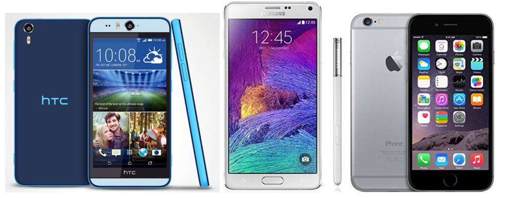HTC Desire Eye VS Samsung Galaxy Note 4 VS Apple iPhone 6