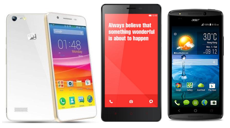 Micromax Canvas Hue vs Xiaomi Redmi Note vs Acer Liquid E700