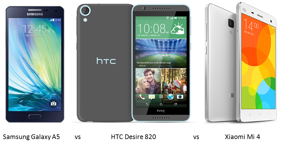 794314cbb8e2d0 Samsung Galaxy A5 vs HTC Desire 820 vs Xiaomi Mi 4  Specifications ...