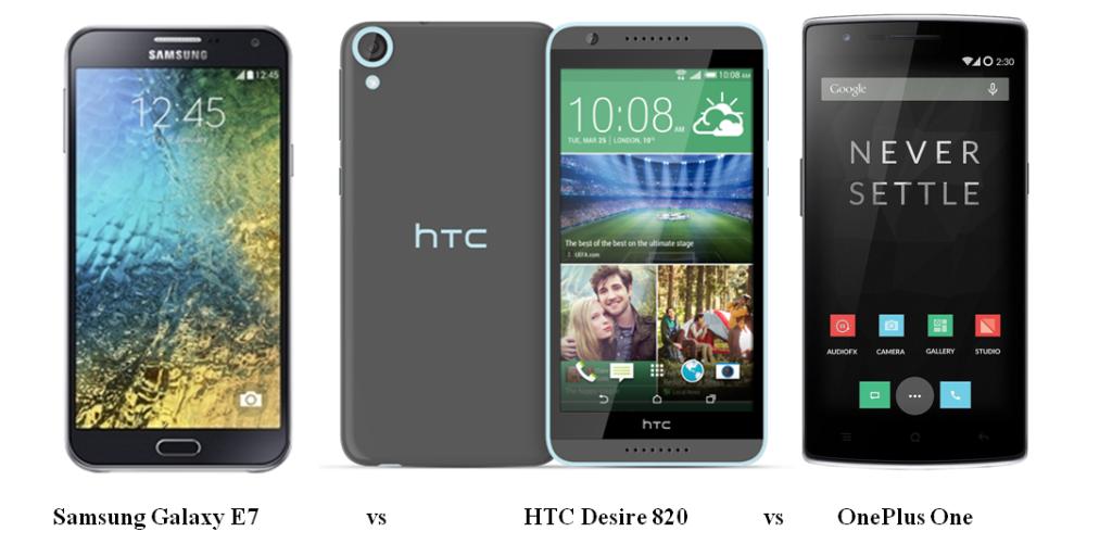 Samsung Galaxy E7 vs HTC Desire 820 vs OnePlus One