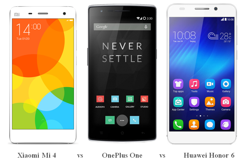 Xiaomi Mi 4 vs OnePlus One vs Huawei Honor 6
