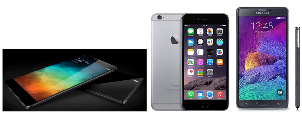 Xiaomi Mi Note vs samsung Galaxy Note 4 vs Apple iPhone 6 Plus