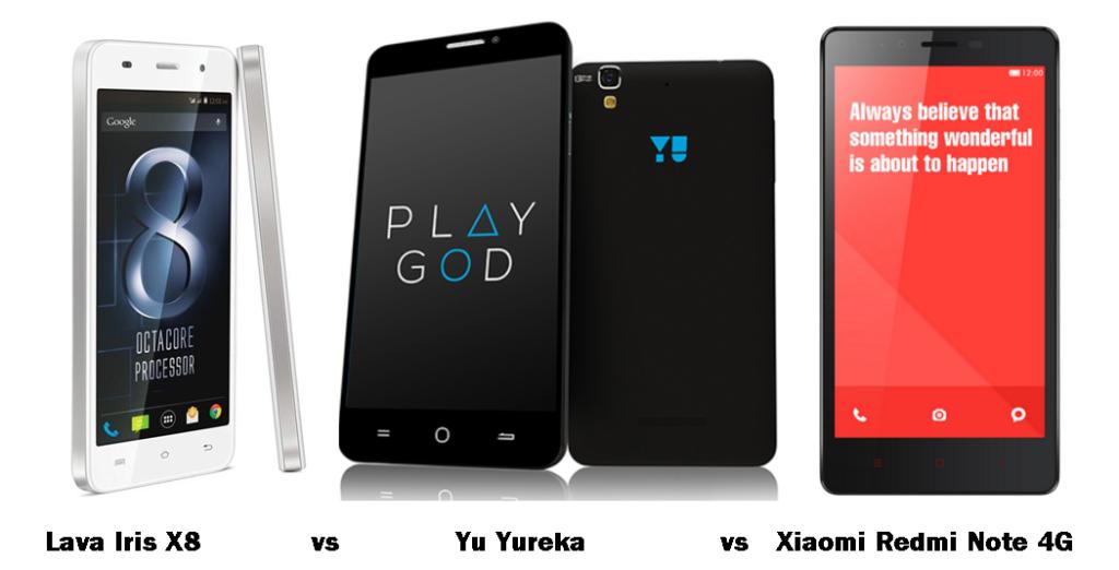 Lava Iris X8 vs Yu Yureka vs Xiaomi Redmi Note 4G