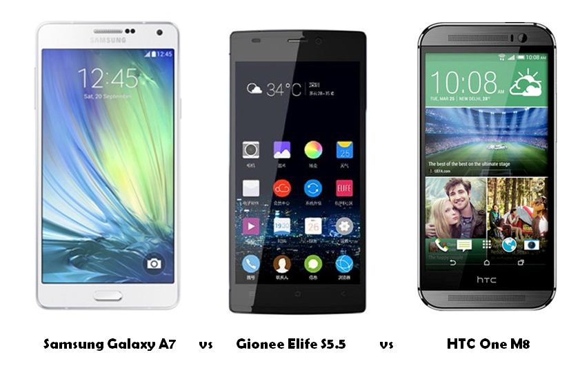 Samsung Galaxy A7 vs Gionee Elife S5.5 vs HTC One M8