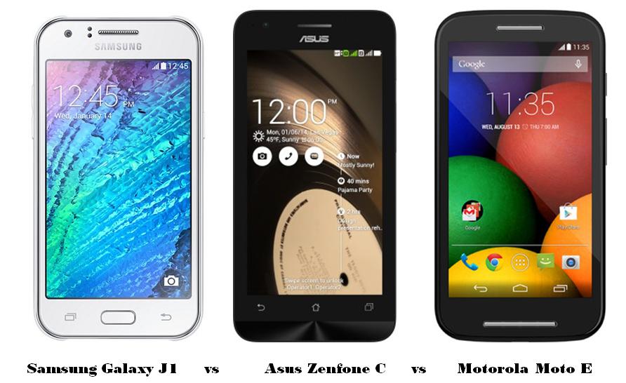 Samsung Galaxy J1 vs Asus Zenfone C vs Motorola Moto E