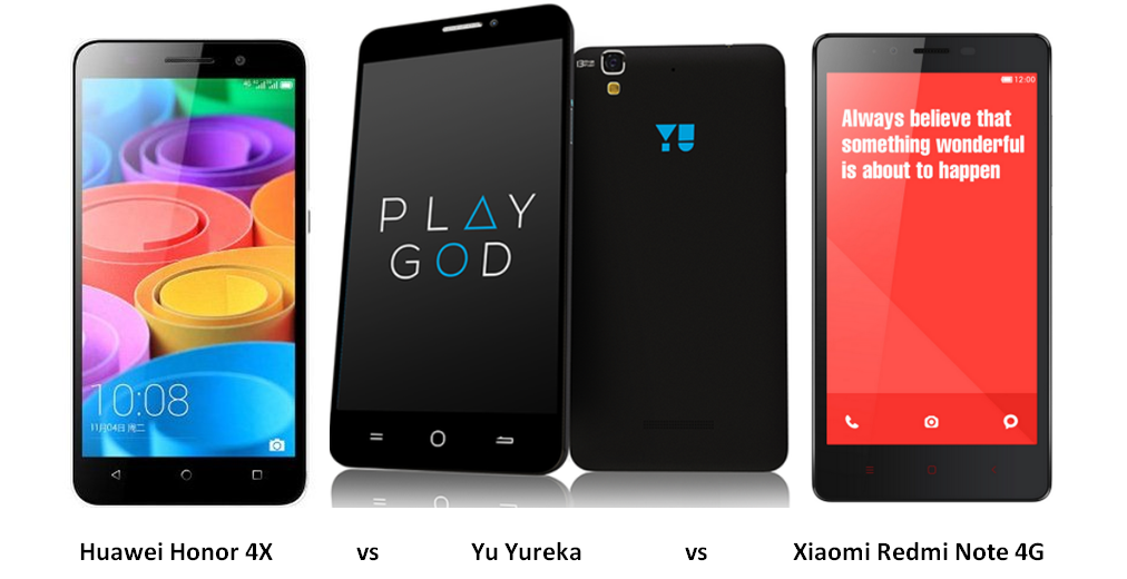 Huawei honor 4x vs yu yureka vs xiaomi redmi nite 4g
