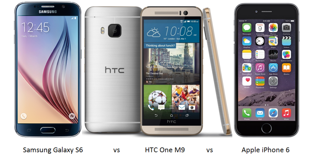 Samsung Galaxy S6 vs HTC One M9 vs Apple iPhone 6-1