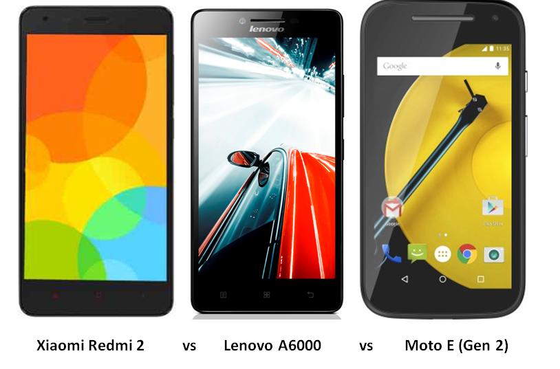 Xiaomi Redmi 2 vs Lenovo A6000 vs Moto E-1