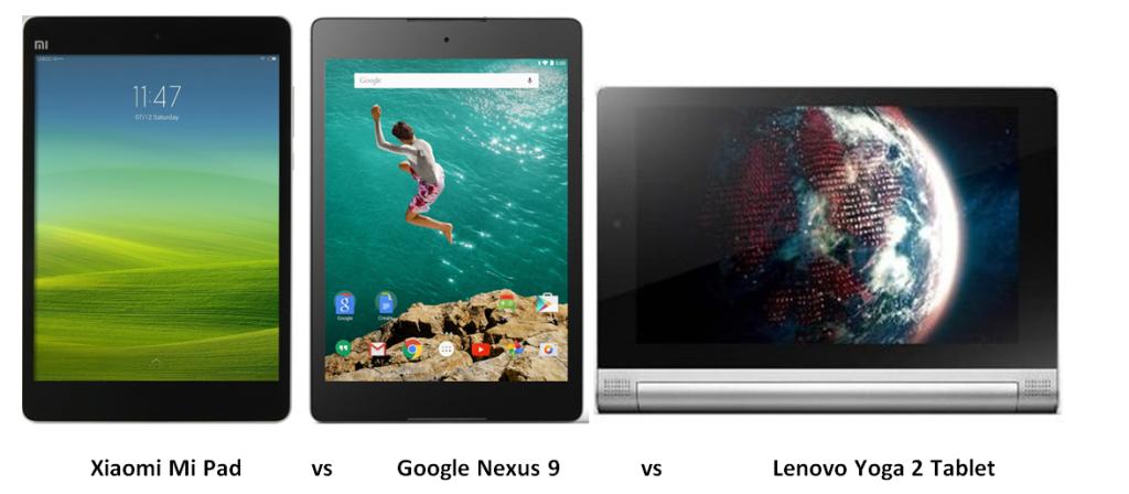 Xiaomi mi pad vs Google Nexus 9 vs Lenovo Yoga 2 Tablet