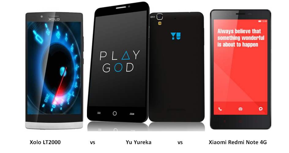 Xolo LT2000 vs Yu Yureka vs Xiaomi Redmi Note 4G-1