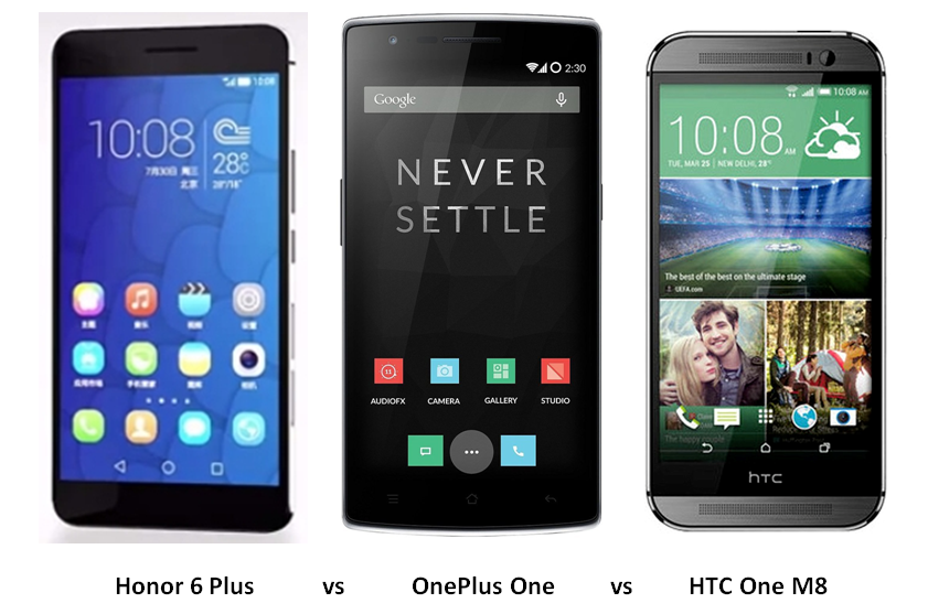 huawei honor 6 plus vs Oneplus one vs HTC One m8