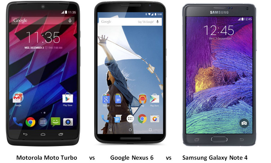 motorola moto turbo vs Google Nexus 6 vs Samsung Galaxy Note 4