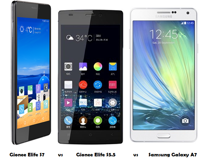 Gionee Elife S7 vs Gionee Elife S5.5 vs Samsung Galaxy A7