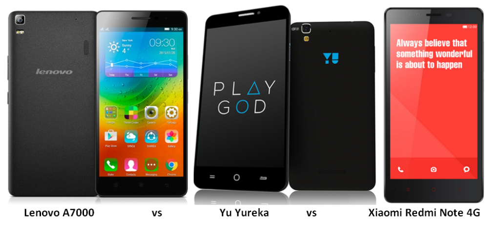 Lenovo A7000 vs Yu Yureka vs Xiaomi Redmi Note 4G