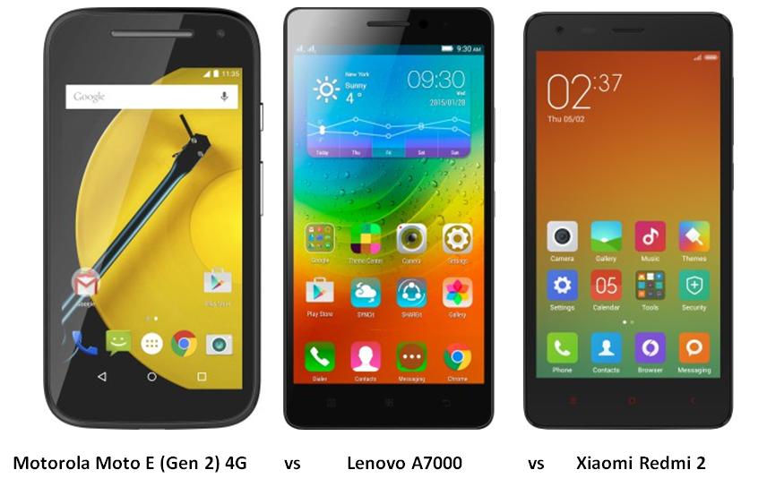 Motorola Moto E (Gen 2) 4G vs Lenovo A7000 vs Xiaomi Redmi 2 (1)