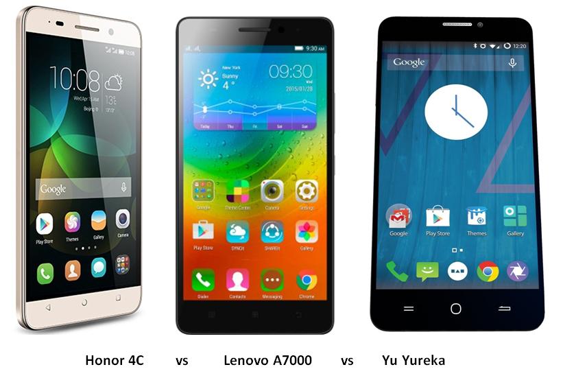 Honor 4C vs Lenovo A7000 vs Yu Yureka comparison (1)