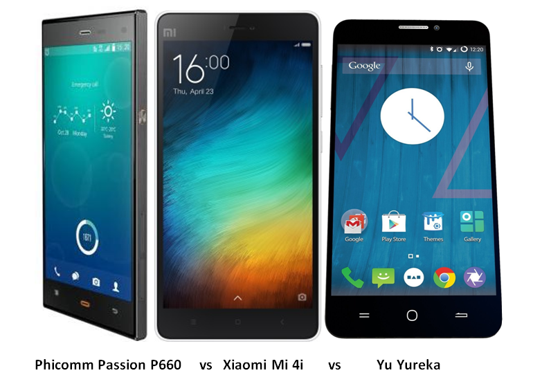 Phicomm Passion P660 vs Xiaomi Mi 4i vs Yu Yureka -1