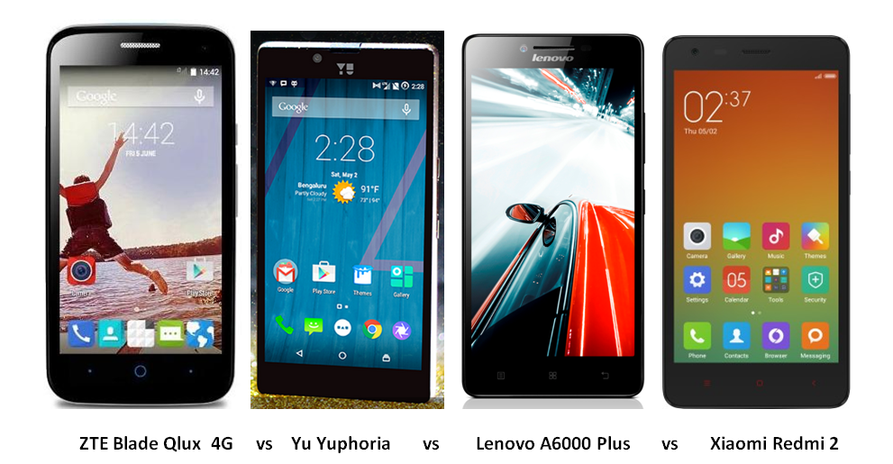 ZTE Blade Qlux vs Yu Yuphoria vs Lenovo A6000 Plus vs Xiaomi Redmi 2 Comparison Image-1