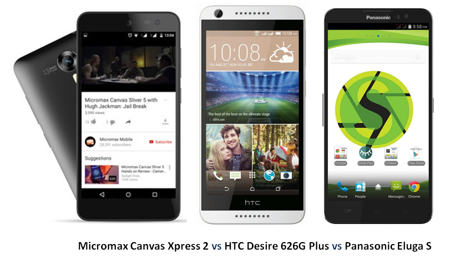 Micromax Canvas Xpress 2 vs HTC Desire 626G Plus vs Panasonic Eluga S -1