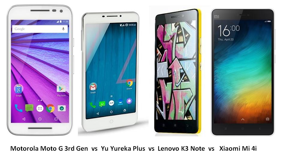 Moto G 3rd Gen vs Yu Yureka Plus vs Lenovo K3 Note vs Xiaomi Mi 4i