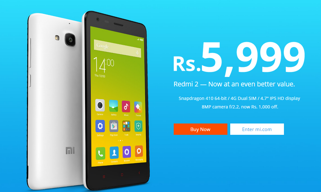 Xiaomi Redmi 2 Price Slashed