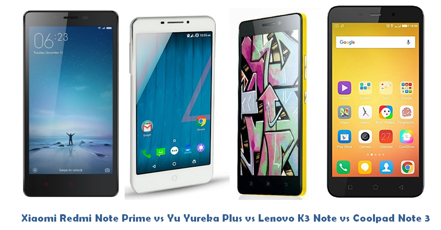 Xiaomi Redmi Note Prime vs Yu Yureka Plus vs Lenovo K3 Note vs Coolpad Note 3