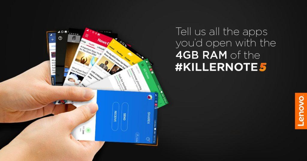 Lenovo Vibe K5 Note Teaser 4GB RAM