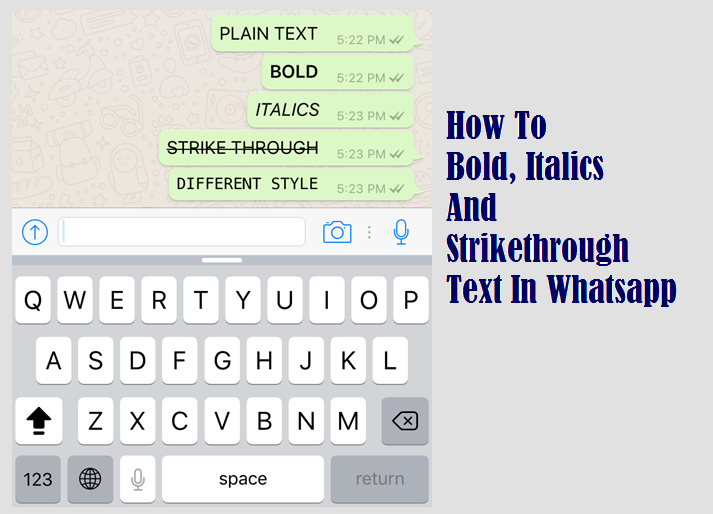 How to Bold Italics Abd Strikethrough text in whatsapp