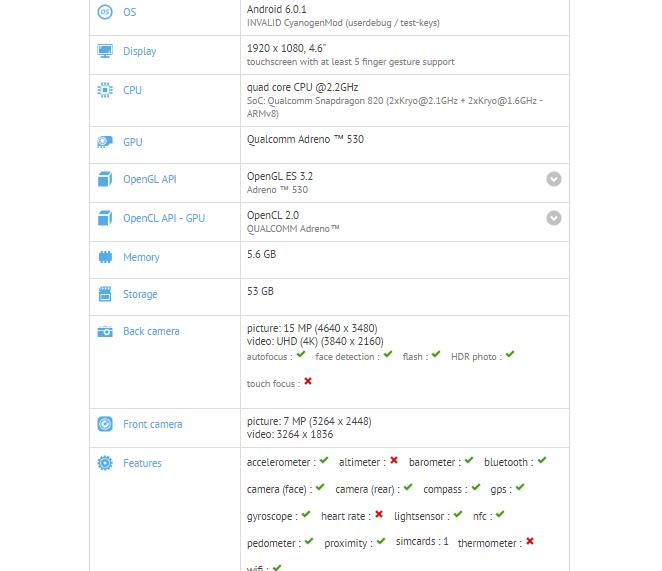 OnePlus 3 Mini GFXBench