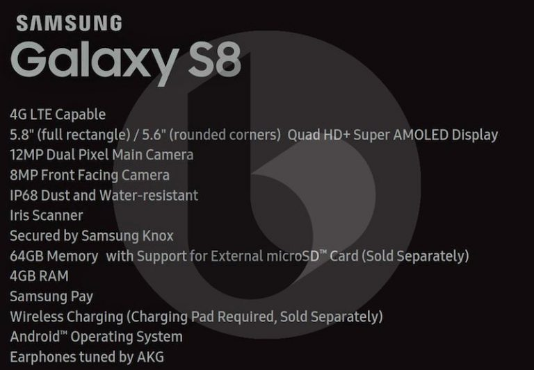 Samsung Galaxy S8 Leaked Specs