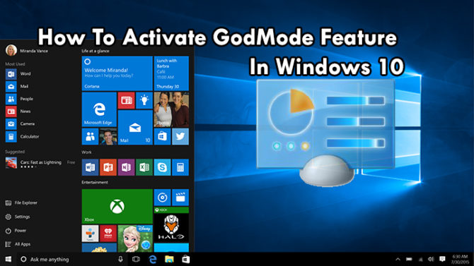 How To Activate GodMode Feature In Windows 10